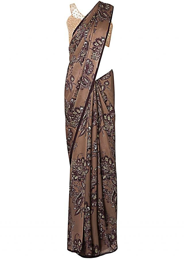Brown saree in georgette with big floral print only on Kalki