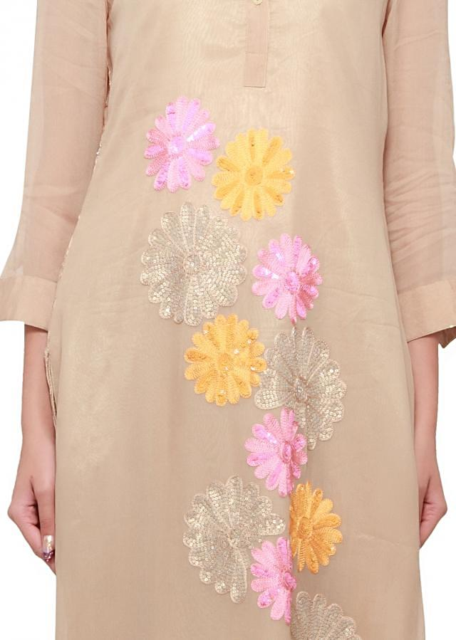 Brush brown kurti featuring in thread and sequence embroidery only on kalki