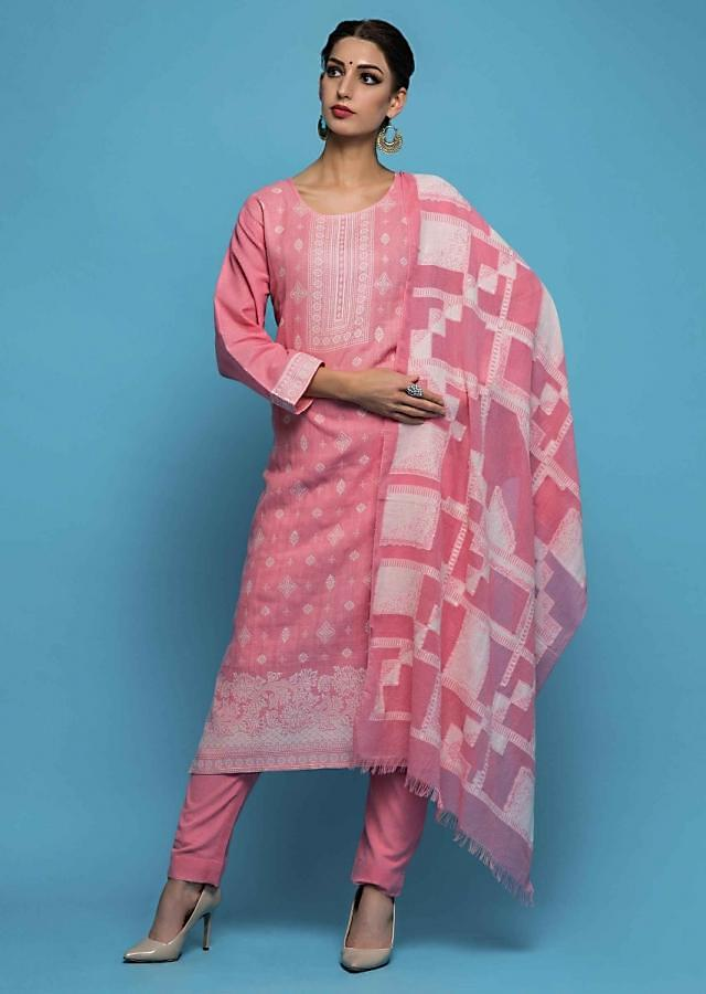 Bubble pink unstitched suit in cotton with white thread butti and border