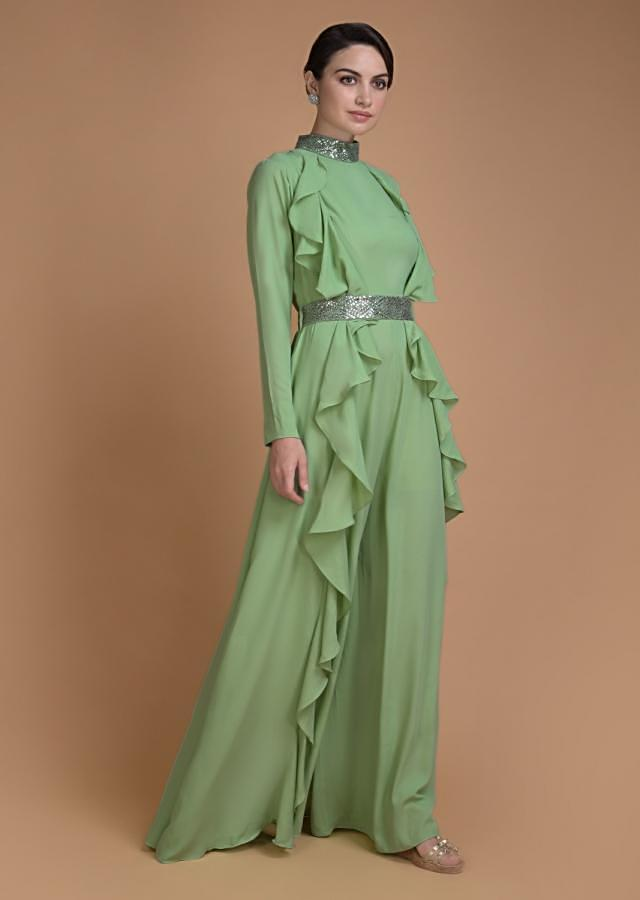 Bud Green Jumpsuit And Jacket With Sequins Work And Ruffle Details Online - Kalki Fashion