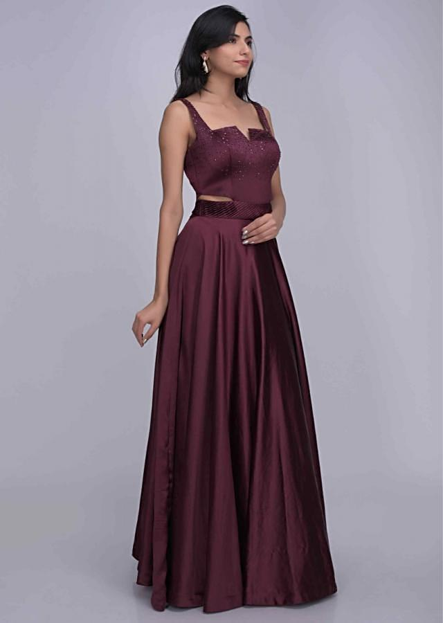 Burgundy colored ethnic gown in satin fabric only on Kalki