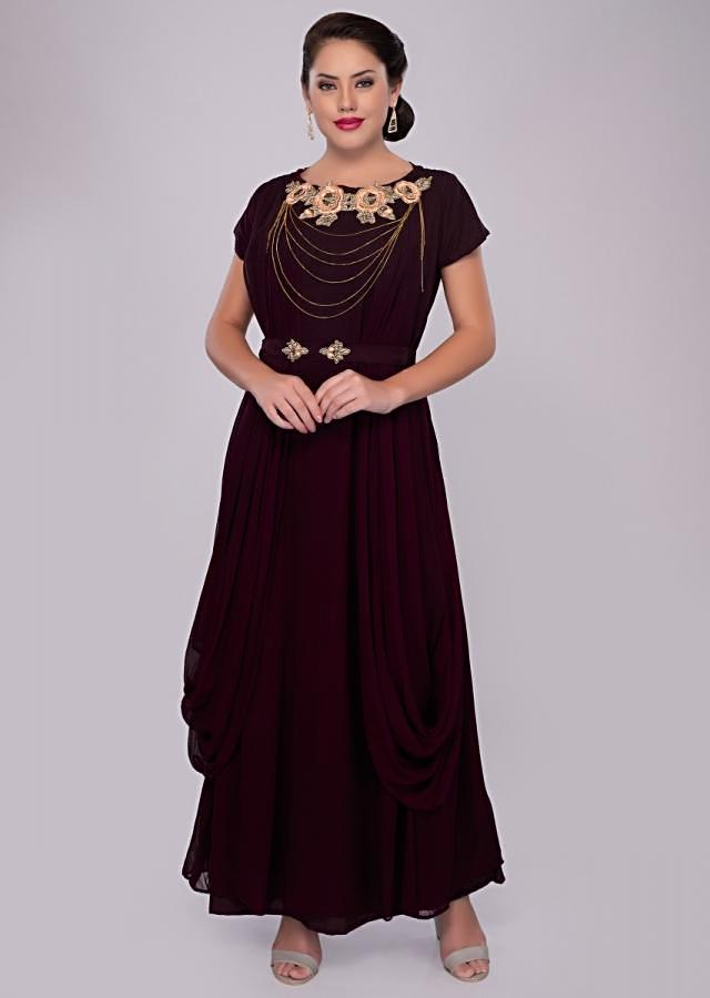 Burgundy georgette gown with pleats and side cowl drape only on kalki