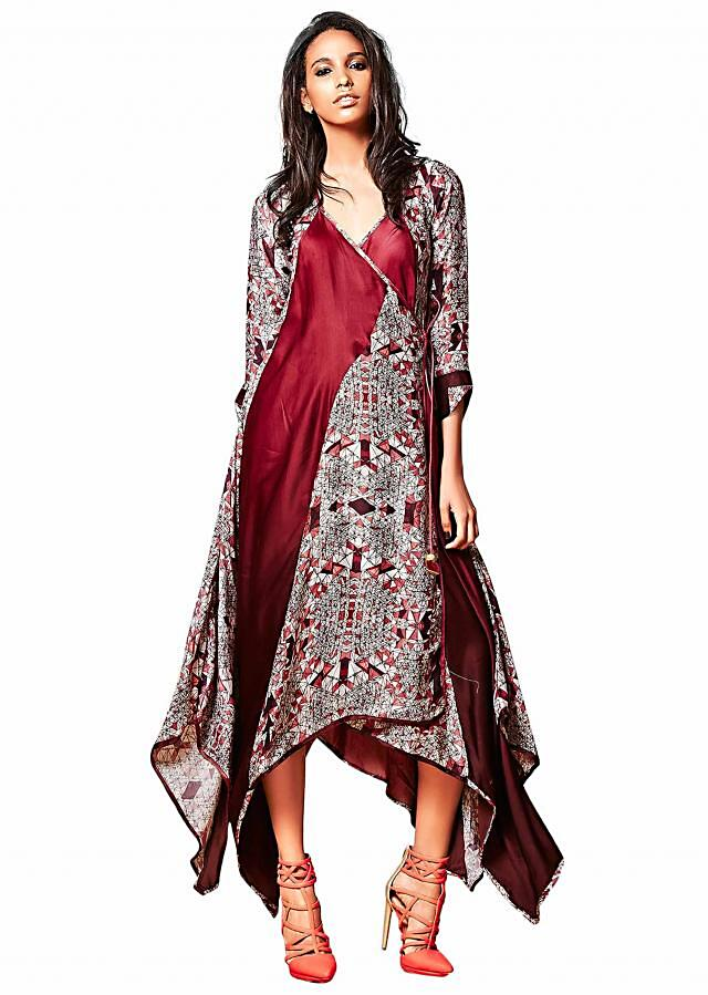 Burgundy wrap dress with printed panels only on Kalki