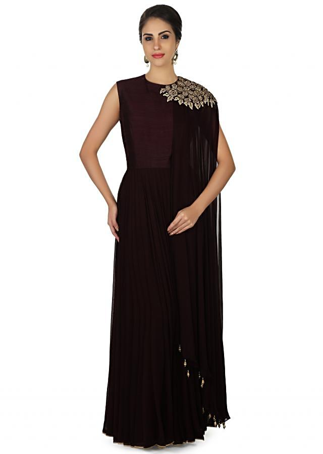 Burgundy anarkali suit with embroidered attach dupatta only on Kalki