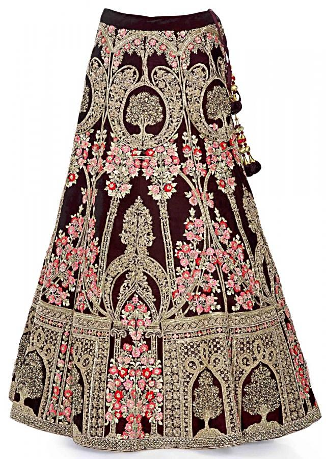 Burgundy coloured lehenga in floral motifs and embroidery in chequered pattern only on Kalki
