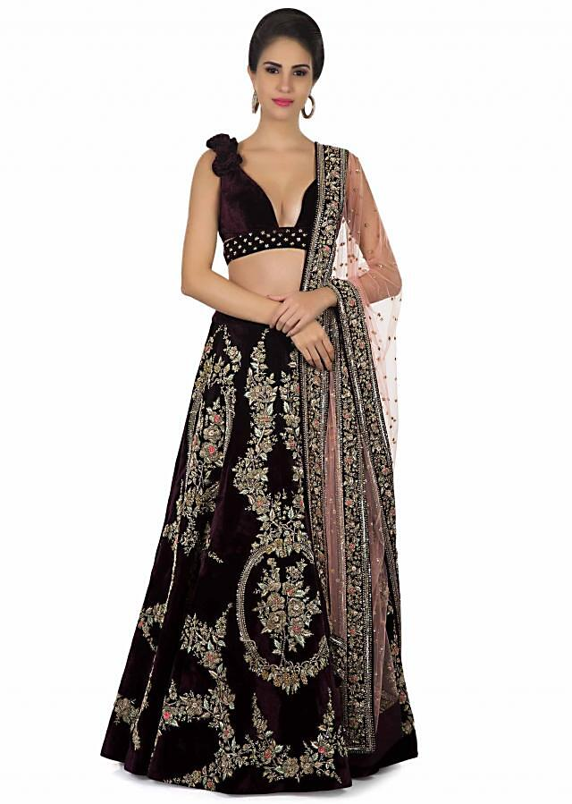 Burgundy lehenga in Mirabell palace structure embroidered motif only on Kalki