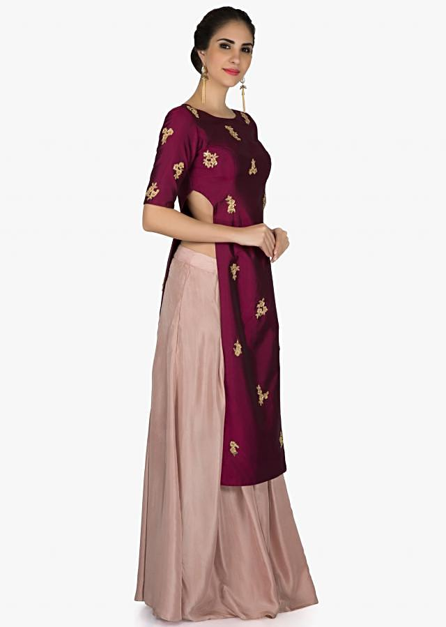 Burgundy straight top in french knot embroidered butti with peach palazzo only on Kalki