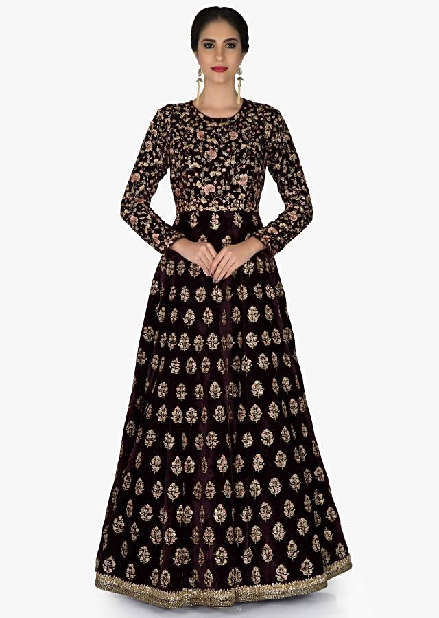 Burgundy Velvet Gown and Pink Net Dupatta with Zari and Cut Dana Work only on Kalki