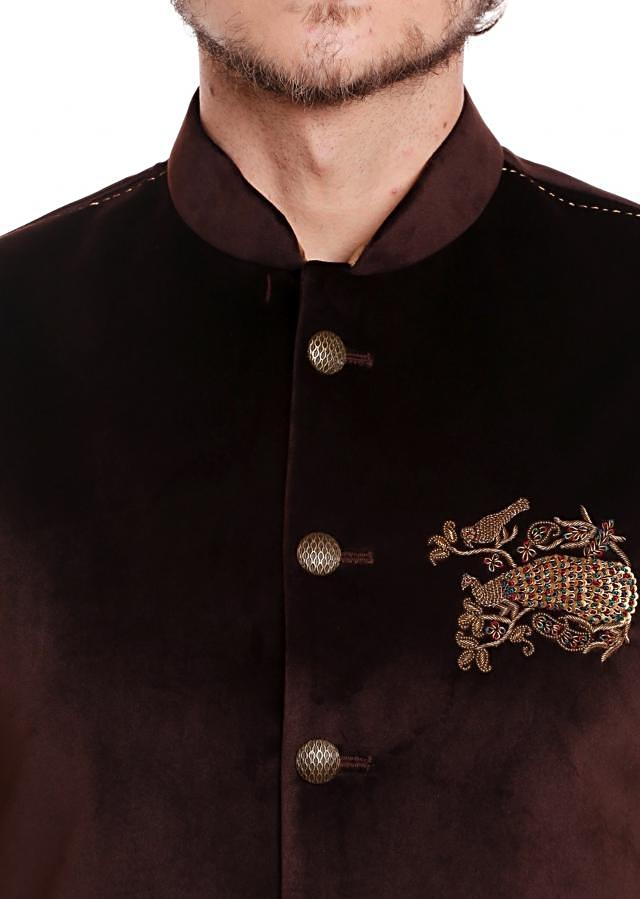Burgundy waist coat in velvet with cowl drape kurta set only on Kalki