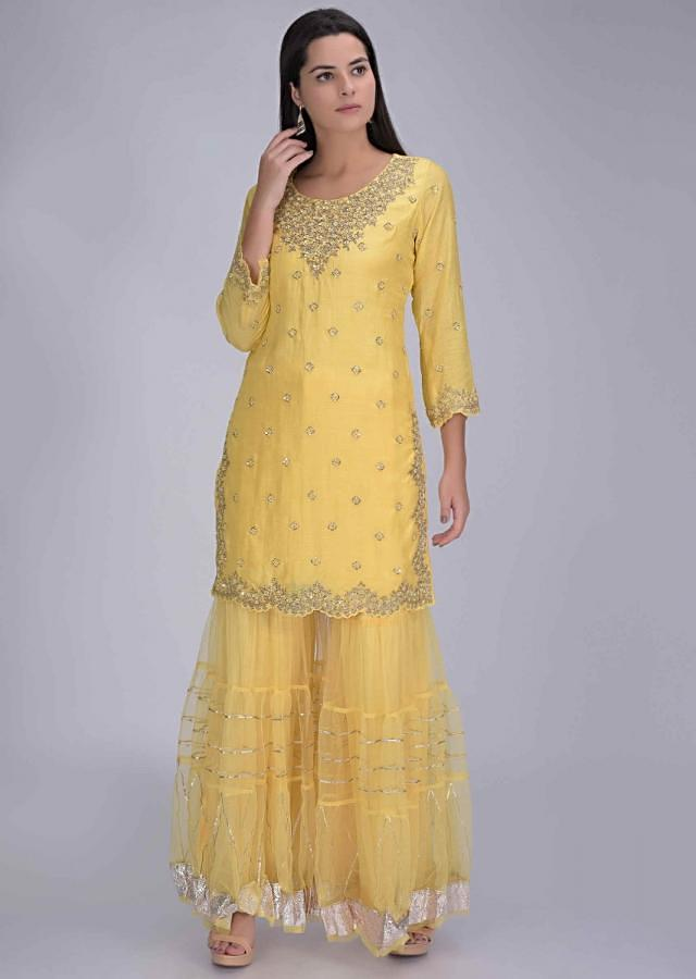 Butter Yellow Suit In Cotton With Net Sharara And Dupatta Online - Kalki Fashion