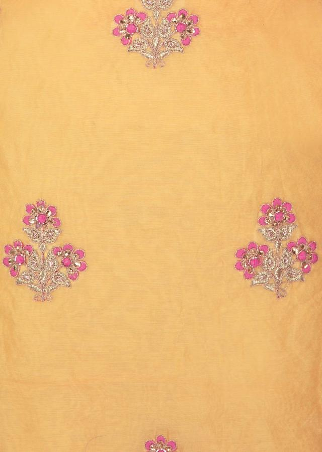 Butter yellow top with resham and cut dana embroidered butti only on Kalki