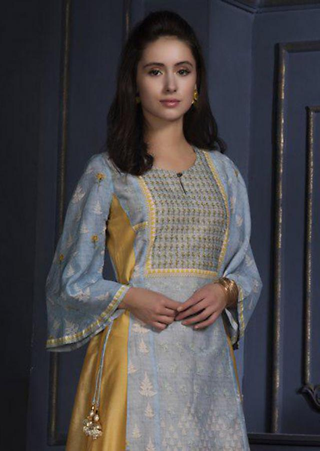 Butter Yellow Tunic With Powder Blue Floral Printed Top Layer Online - Kalki Fashion