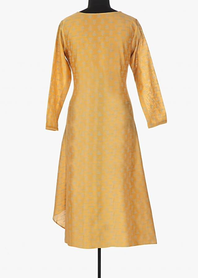 Butterscotch yellow printed kurti with cod embroidered butti only on Kalki