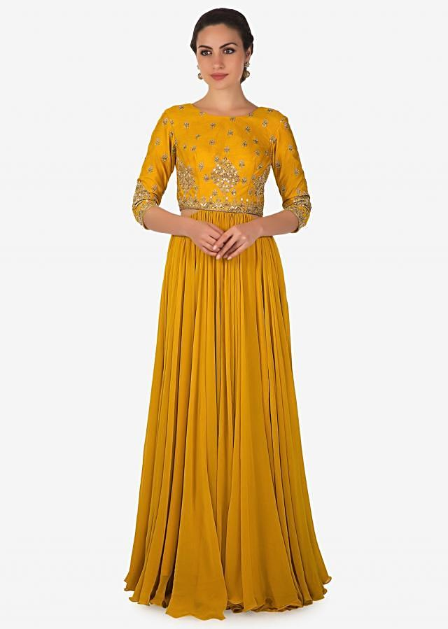 Butterscotch Yellow Raw Silk and Georgette Gown Crafted with Handwork Only on Kalki