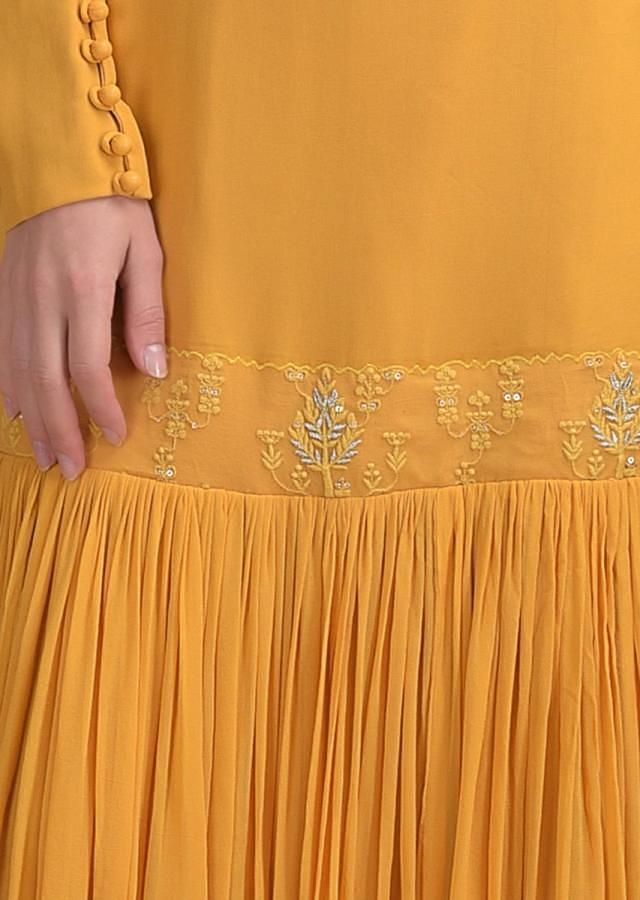 Butterscotch Yellow Suit In Georgette With Gathered Flair From The Thighs And Thread Embroidery Online - Kalki Fashion