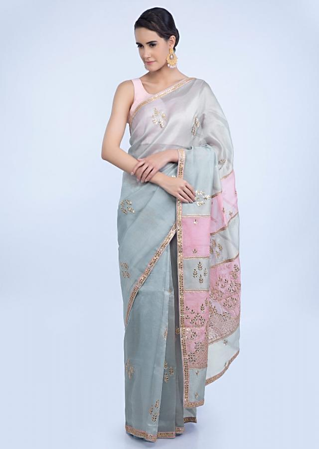 Grey Saree In Organza With Butti Embroidery And Grey And Pink Two Toned Pallo Online - Kalki Fashion