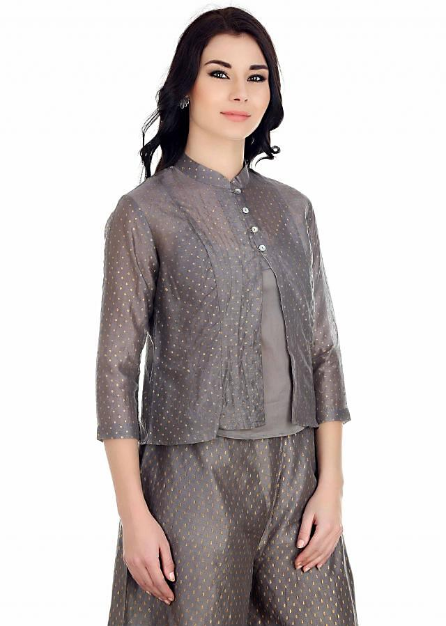 button down two layered top with zari dots