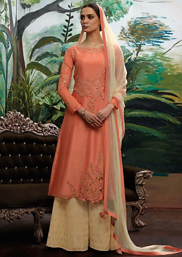 Camellia peach semi stitched suit in resham embroidery