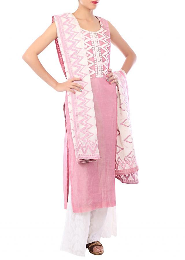 Cameo pink straight fit suit embellished in resham embroidery only on Kalki