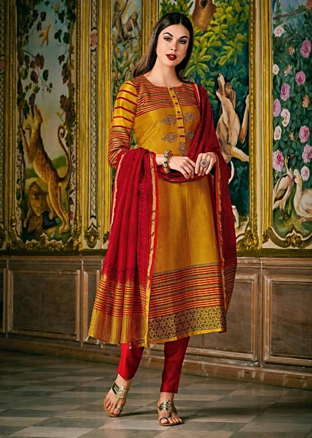 Canary Yellow A Line Suit In Silk With Stripe And Butti Print Along With Pita Zari Online - Kalki Fashion