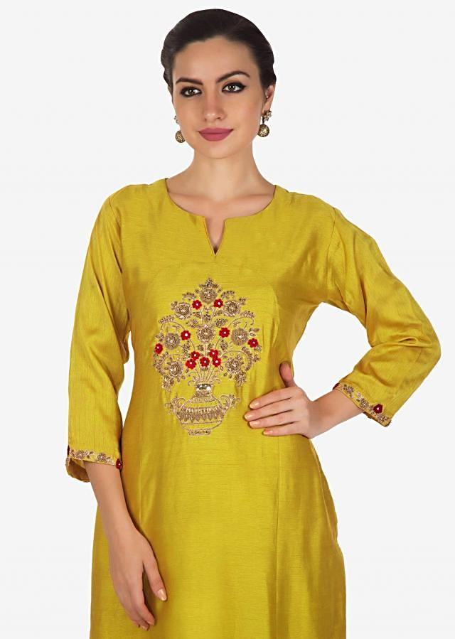 Canary yellow cotton palazzo suit beautified with zardosi and french knot embroidery work only on Kalki