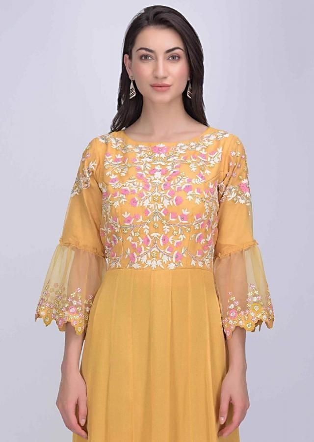 Canary Yellow Anarkali Dress In Crepe And Organza With Tiered Hemline Online - Kalki Fashion