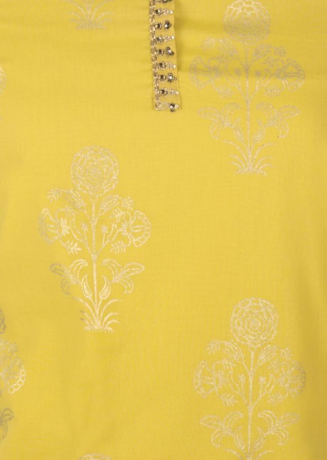 Canary yellow unstitched printed suit with embroidered placket only on Kalki