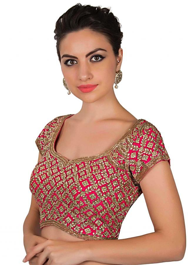 Candy pink blouse adorn in kundan and zardosi only on Kalki
