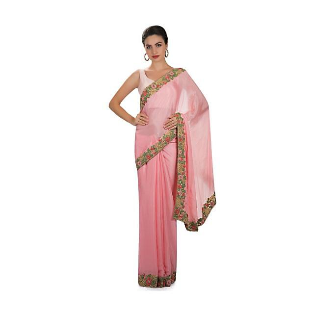 Candy pink chiffon saree with embroidered borderonly on Kalki