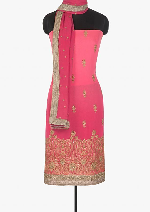 Candy pink georgette suit adorn in zari and sequin only on Kalki
