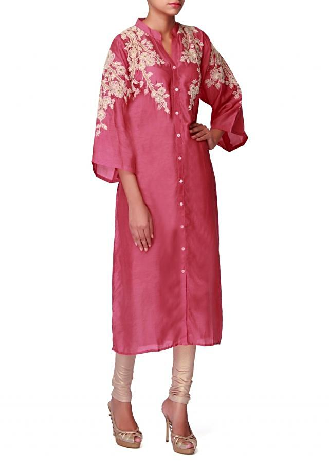 Candy pink kurti embellished in thread work only on Kalki