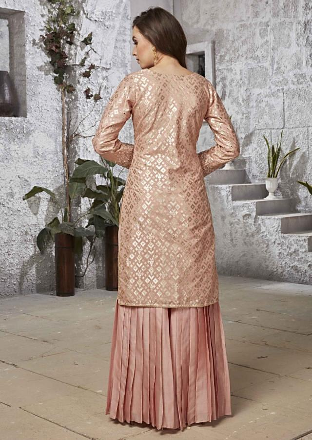 Candy Pink Straight Sharara Suit In Cotton With Mirror And Resham Embroidered Neckline Online - Kalki Fashion