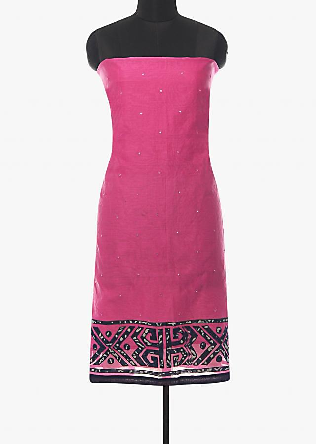 Candy pink unstitched suit in cotton silk with applique work hem line only on Kalki