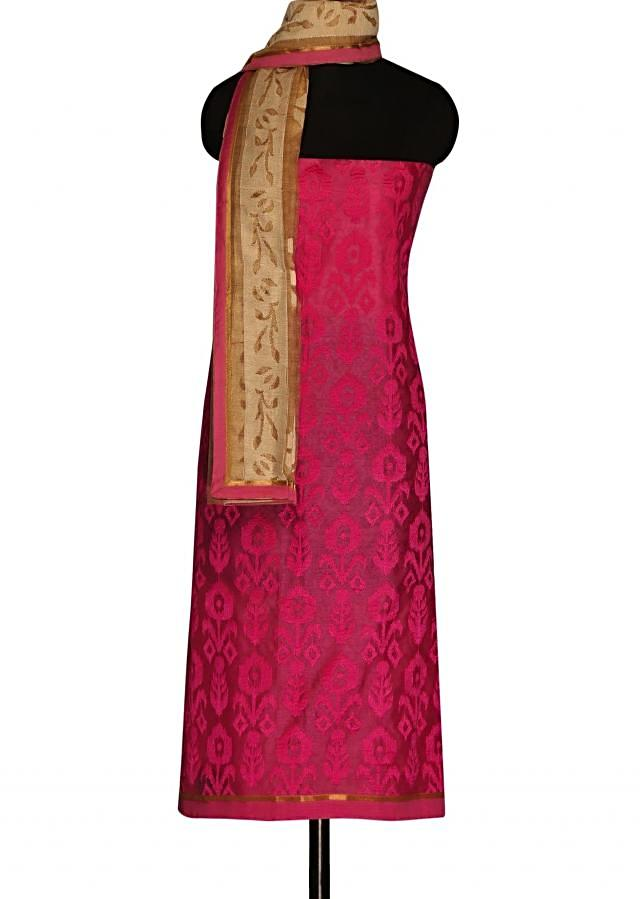 Candy pink unstitched suit with paisley motif dupatta only on Kalki