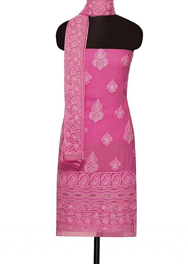 Candy pink unstitched suit with shaded dupattaonly on Kalki