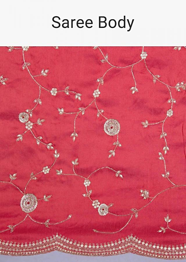 Candy red dupion saree with floral jaal embroidery and scallop embroidered border only on Kalki