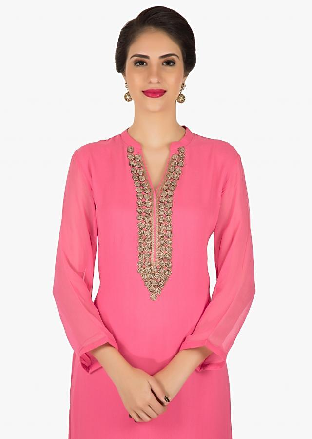 Candy pink georgette kurti adorn in thread work only on Kalki