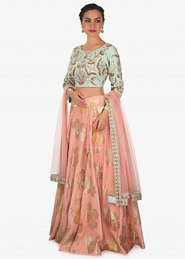 Candy pink lehenga in foil print with mint blue blouse only on Kalki