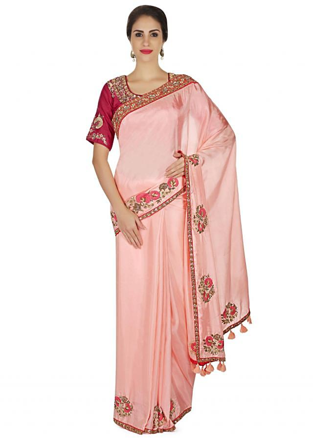 Candy pink saree in satin with resham embroidered butti and border only on Kalki