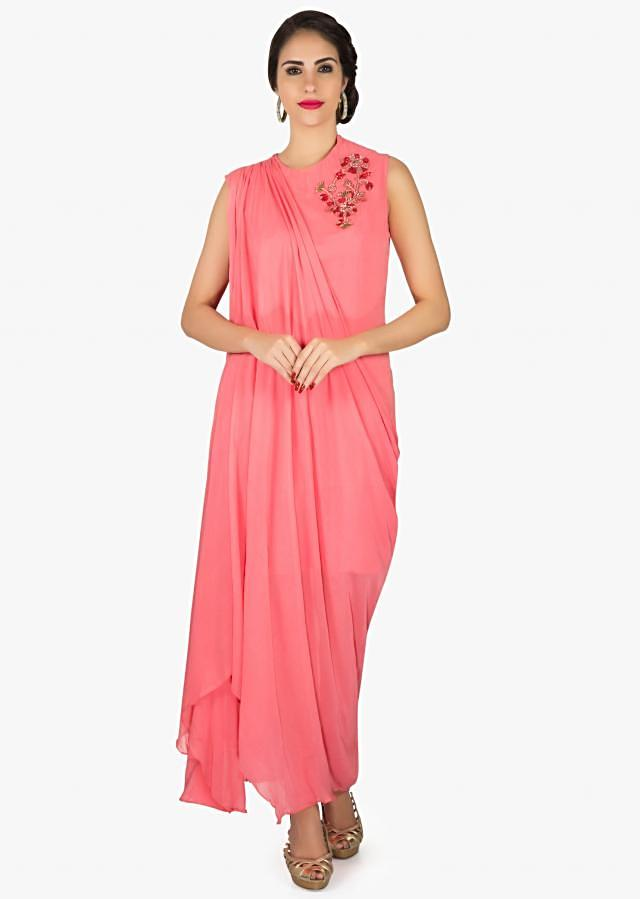 Candy pink suit in georgette with fancy drape and embroidered zari butti only on Kalki