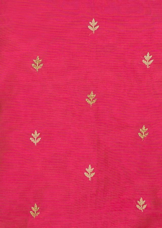 Candy pink unstitched suit embellished in resham and zari butti work only on Kalki