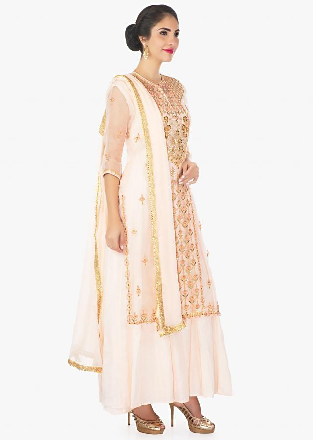 Cantaloupe Peach Suit With Cotton Inners With Organza Top In Gotta Lace And Resham Online - Kalki Fashion