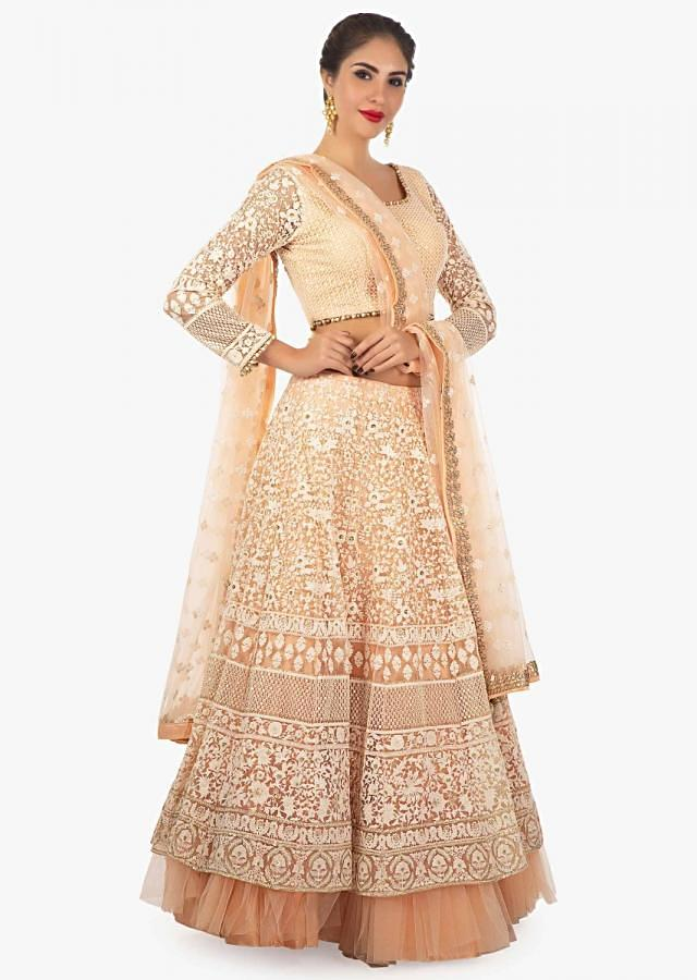 Cantaloupe peach net lehenga set  embellished in thread work only on Kalki