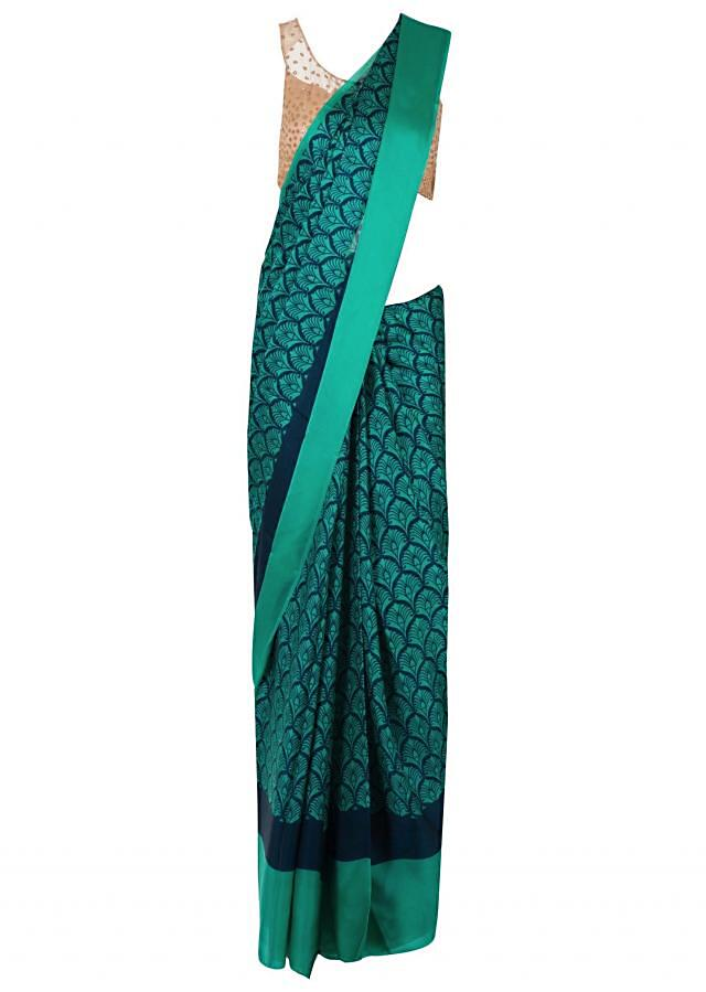 Capri blue saree in georgette with jaal print only on Kalki