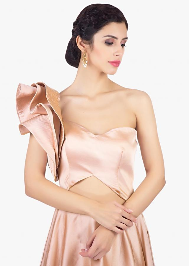Shivangi Joshi in kalki caramel beige one shoulder milano satin gown with 3 D floral style