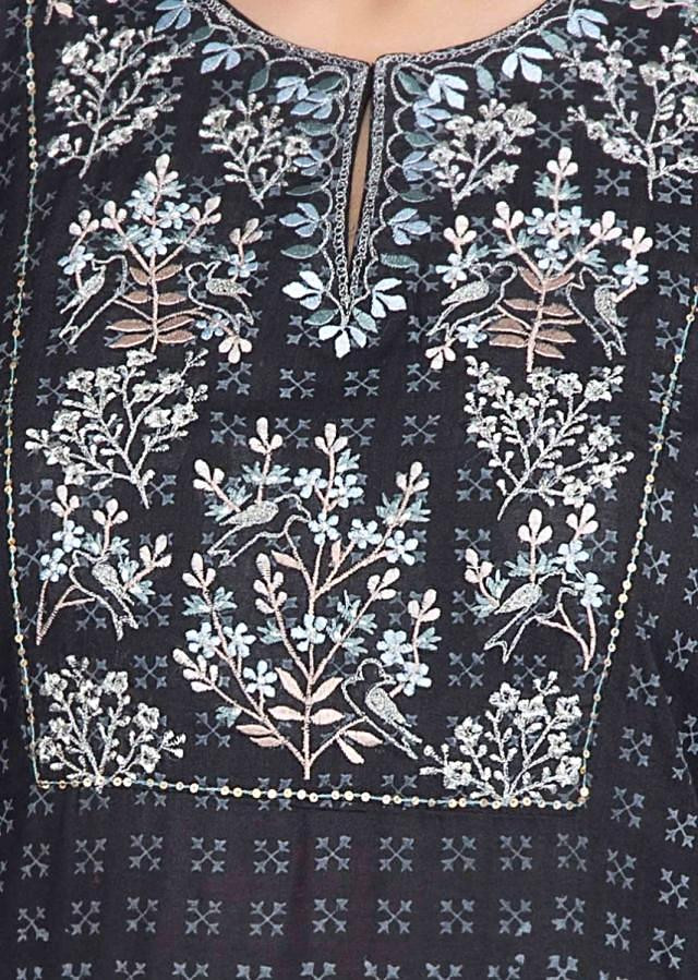 Carbon black cotton tunic dress with printed butti and embroidered placket only on Kalki