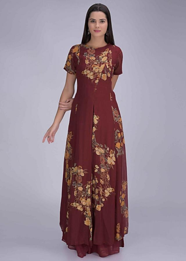 Carmine Red Front Slit Suit In Chiffon With Sharara Pants Online - Kalki Fashion