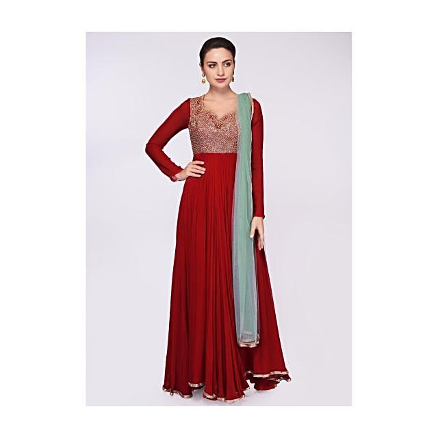 Carmine red georgette anarkali dress with embroidered bodice only on Kalki