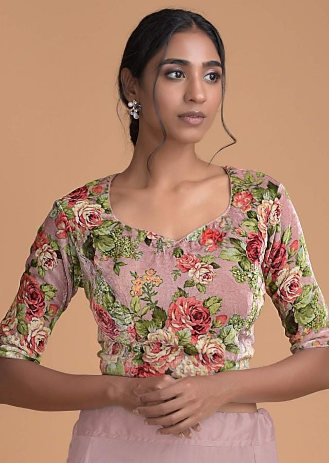 Carnation Pink Saree In Organza With Zari Buttis And Dusty Pink Rose Printed Blouse Online - Kalki Fashion