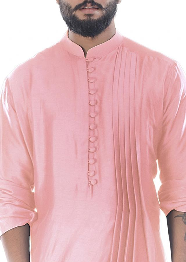 Carnation Pink Cowl Drape Kurta With Churidar Pants